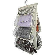 Rebecca Srl Organizer Portasciugamani 5 Tasche Gancio Beige Tessuto Plastica
