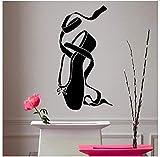 Ballett Vinyl Aufkleber Mädchen Pointes Ballett Schuh Wandaufkleber Abnehmbare Ballerina Tanz Wandtattoo Kinderzimmer Dekor Wandbild 42 * 78 Cm