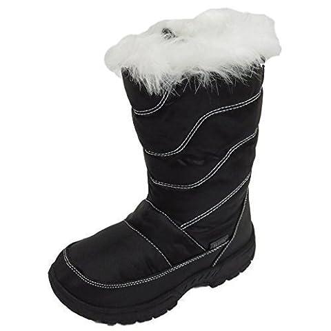 Mädchen Kinder schwarz Winter warm Pelz Reißverschluss Eis Schnee Regen Thermo Stiefel Größen 10-2 - Schwarz, EUR 33