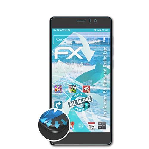 atFolix Schutzfolie passend für Archos 55 Diamond Selfie Lite Folie, ultraklare & Flexible FX Bildschirmschutzfolie (3X)
