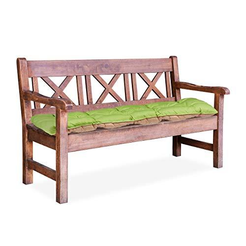 Relaxdays 10023474_53 Cuscino per Panca da Giardino, Imbottitura Panchina a 2 Posti da Legare Pieghevole, HLP: 8x118x52cm Verde/Beige