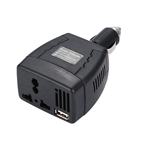 Yao 75W Car Inverter DC12V to 110V/220V 50Hz Power Converter with USB Charger Black 0.5A - 50hz Power Inverter