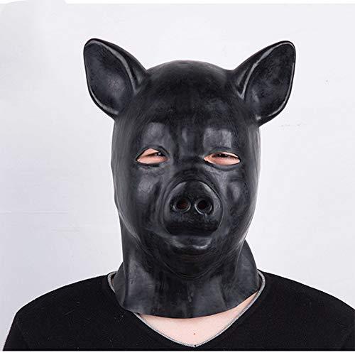 d Cover Lackleder Schwarze Maske Naturlatex Erwachsene Schwarz ()