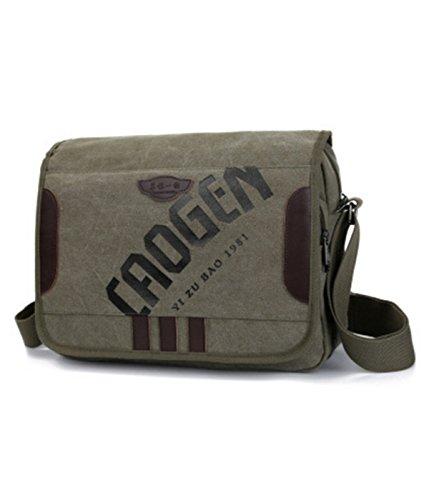 YOJAP Unisex Vintage Canvas Umhängetasche Schultertasche Messenger Bag für Reise Sport Freizeit Grün