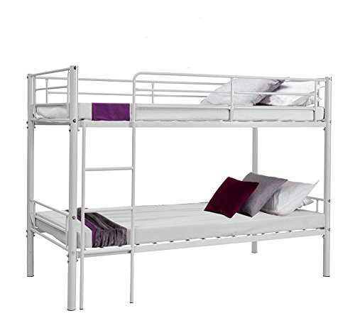 Minifair 3ft Single Sleeper Bunk Bed Metal Frame Children Bunk Bed - Twin Sleeper For Kids(bed frame only) (White)