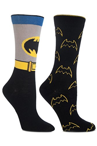 SockShop Damen 2 Paar DC Comics Mix Batman Socken 4-6,5 Damen (Adam Kostümen Batman West)