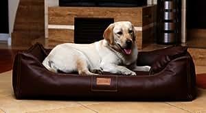 ma4-ll-01 lit pour chien Maddox similicuir Canapé pour Chien Panier pour chien gr. L 100cm brun