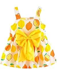 PAOLIAN Vestido para Bebe niñas Verano 2018 Princesa Vestido de la Honda  Impresion Limón Bowknot Sin Manga bautiz Fiestas Ropa para… be1bb79f3362