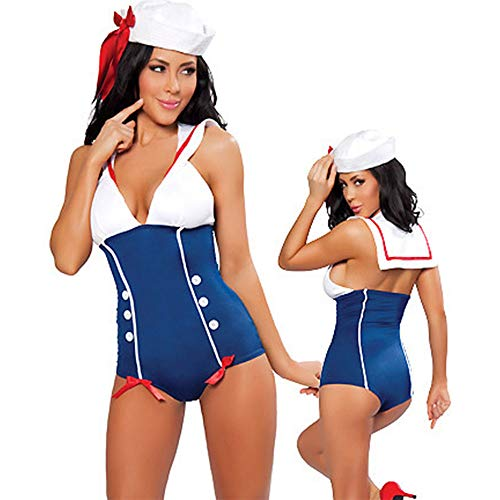 YCWY Sexy Sailor Captain Kostüm, Retro Navy Sailor Girl Uniform Damen Sexy Sailor Kostüm 2 Anzüge