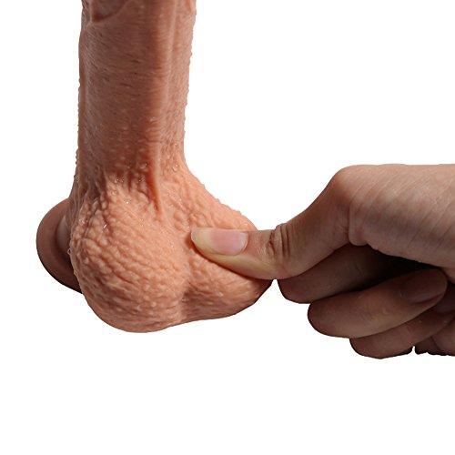 Pure Zwei-Layer-Silikon Dildo Soft Outside und Firm Inside Penis mit starken Saugnapf Real Dong Penis Nachbildung, 18 cm lang Ø3.8 cm (SKIN) - 5