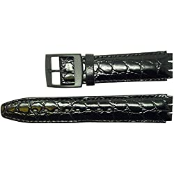 New 17mm (20mm) Sized Genuine Leather Croco Grain Replacement Strap for Swatch® Watch - Black.