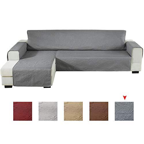 Enjoygoeu copridivano con penisola impermeabile,sofa cover salvadivano angolare con goffratura,a forma di l a sinistra o destra,adatto per cani gatti,240x270cm (scuro grigio, sinistra)