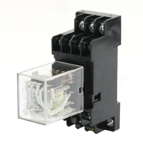 DC12V Coil 4PDT Elektromagnetische Leistungsrelais mit 35-mm-DIN-Schiene Sockel