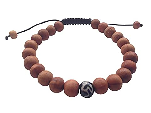 Tibetan Mala Wood Bead Wrist Mala Bracelet for Meditation with OM mani bone bead