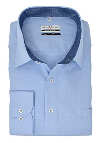 Marvelis Comfort Fit New Kent Kragen bügelfrei Muster Fischgrät Reine Baumwolle, Größe:48, Farbe:hellblau -