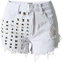 SaiDeng Donna Vintage Jeans Hole Shorts Denim Pantaloncini Corti Con Rivetto