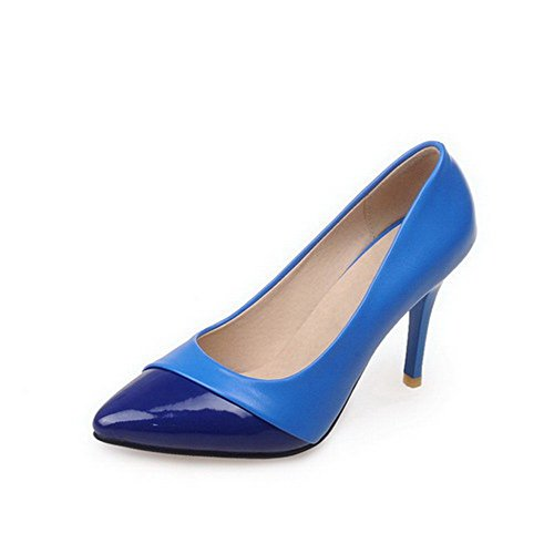 AllhqFashion Femme Verni Tire Pointu à Talon Haut Couleur Unie Chaussures Légeres Bleu