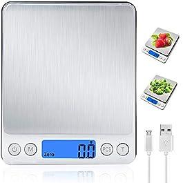 Bilancia da cucina digitale con ricarica USB, bilancia digitale 0,1g/3 kg, bilancia elettronica fine con PSC/funzione…