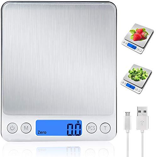 Bilancia da Cucina Digitale con Carica USB,Bilance per Alimentari Elettronica ad Alta Precisione (3kg-0.1g / 0.001lb)con Retroilluminato e 9 Unità,Multifunzione Peso Cucina con 2 Scodella,Argento