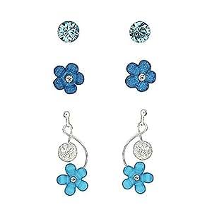 Boucles d'Oreilles Estivales en Argent 925 en Forme de Fleurs Bleues avec Cristaux - Set de 3