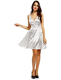 maboobie Robe retro sans manche pin-up annee 50 60 soiree blanc oiseau Rockabilly swing WWII soiree fete Danse Balle