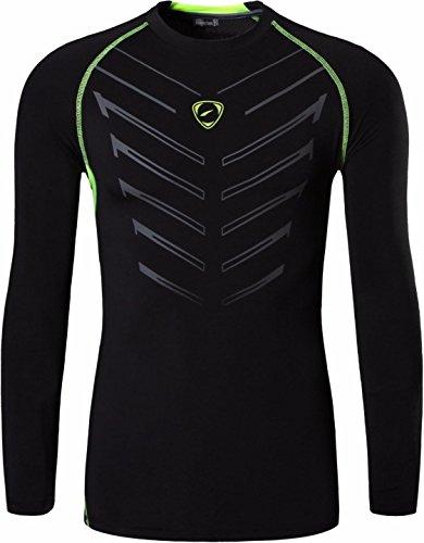 jeansian Uomo Moda Formazione Manica Lunga Sportivo Casuale Palestra Fashion Tee T-Shirts Camicie LA190 Black XL