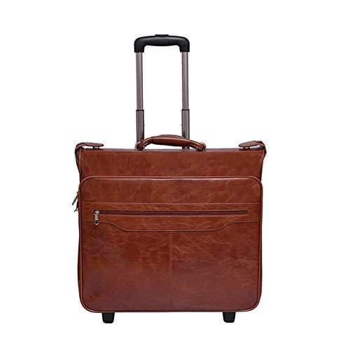 17 Trolley Tote (GJF Rädern Tote, New Business Herren Anzug Tasche, PU Trolley Bag, British Vintage Bag, Geschäftsreisen Urlaub-Brown)