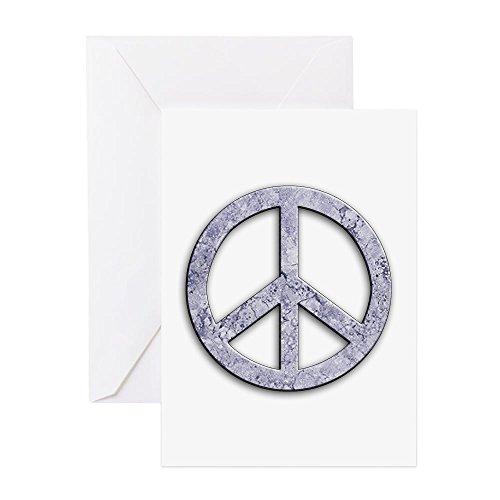 CafePress - Marmorstruktur Peace-Zeichen Grußkarten (10 Stück) - Grußkarte (10 Stück), Notizkarte mit blanko innen, Geburtstagskarte, matt (World Peace Zeichen)