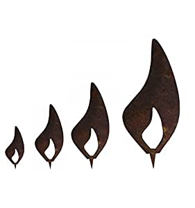 Metallmichl Edelrost Flamme 4er Set - Rost Flammen je 1 x ...
