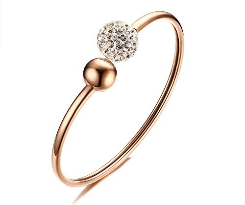 Vnox Edelstahl 18K Rose Gold Kristall Perlen Charme Thin Stacked Cuff Wire Armreif Armband für Frauen (Crystal Wire Armreif)