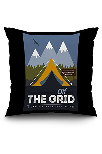 glacier-national-park-montana-off-the-grid-vector-style-20x20-spun-polyester-pillow-case-black-borde