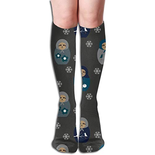 Women's Fancy Design Stocking Blue Matyroshka Sloths Multi Colorful Patterned Knee High Socks 50cm(19.6Inchs) -