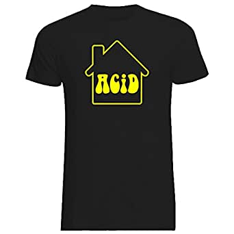 Acid House T-Shirt (Small, Black T-shirt with Fluorescent Yellow Print)