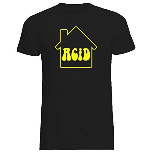 Mens Acid House T-Shirt, Yellow or Black - S to XXXL