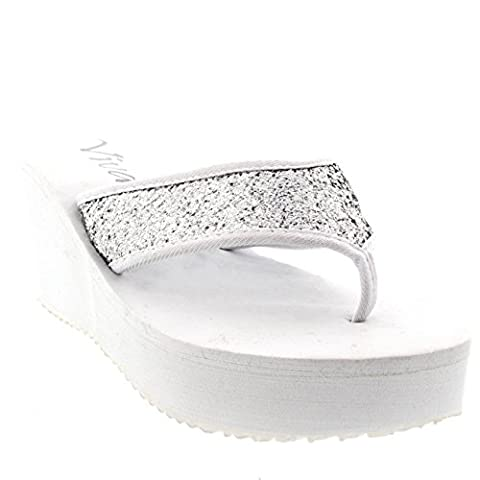 Womens Open Toe Flip Flops Glitter High Heel Platform Wedge Thong Sandals - White - 5 - 38 - CD0192