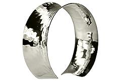 Idea Regalo - SILBERMOOS, bracciale classico da donna, aperto, in argento sterling 925, massiccio, lucido, martellato a mano