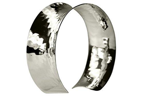 SILBERMOOS Klassischer Damen Armreif Armspange offen massiv glänzend gehämmert handgeschmiedet 925 Sterling Silber
