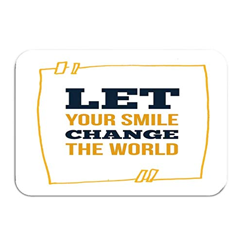 Bikofhd Outside Shoe Non-Slip Color Dot Doormat Smile Typography Design Template Yellow Backdrop Background Texture Mats Entrance Rugs Carpet 16 * 24 inch -