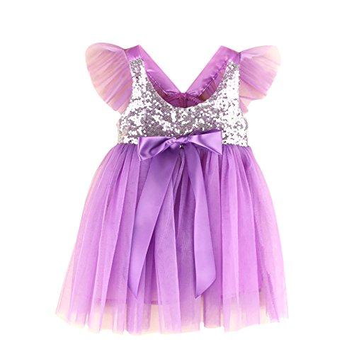 (Baby Kleinkind Mädchen formale Party Kleid Pailletten Bowknots dekorieren Mini Rock Prinzessin Outfit)