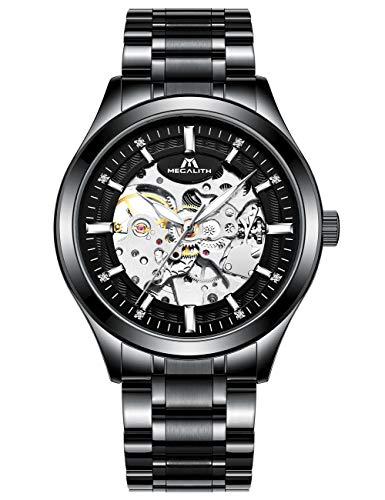 Herren Uhr Automatik Männer Mechanische Automatikuhr Skelett Designer Militär Wasserdicht Schwarz Edelstahl Armbanduhren Mann Leuchtende Steampunk Hand Wind Analoge Klassisch Uhren