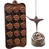 Clazkit Silicone Flower Shape Chocolate Mould (Brown, 10-inch)