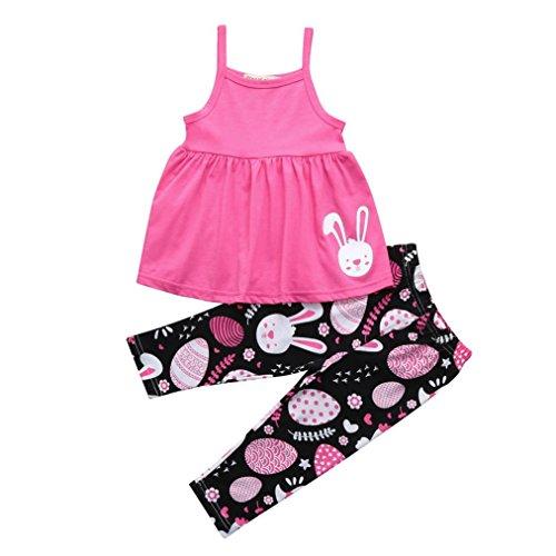 y Kids Mädchen Ostern Eier Cartoon Kaninchen Print Kleid Hosen Set Outfits bluse rock kleid jumpsuit hose rosa (rosa, 120) (Giraffe Halloween-kostüm 3t)