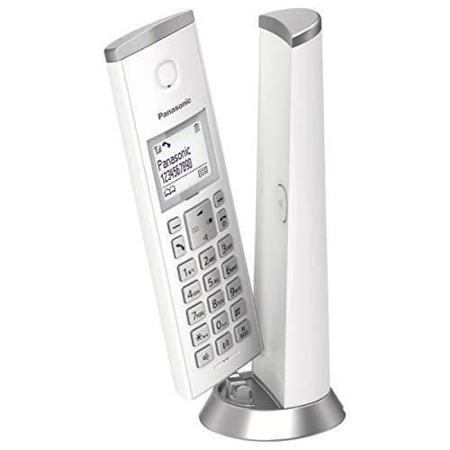 Panasonic KX-TGK210 - Teléfono Inalámbrico Digital de Diseño (LCD, Identificador de Llamadas, Agenda de 50 Números, Bloqueo de Llamada, Modo ECO) Color Blanco