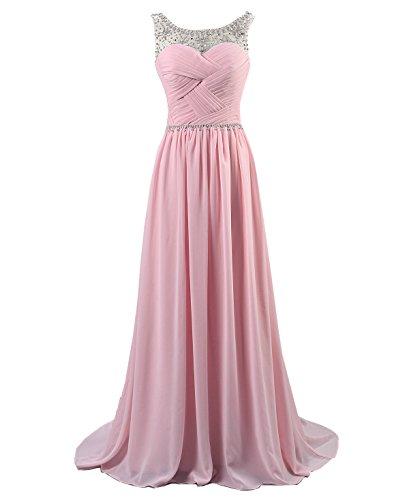 Kmformals Damen Perlen Lang Chiffon Formale Abschlussball Abendkleid Brautjungfer Kleider Größe 38 Rosa (Abendkleid Gefüttert Perlen Voll)