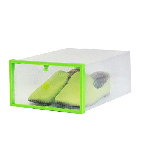 Schrank Schmuck Box Truhe (sannix klar Kunststoff Faltbare Schuhe Aufbewahrungsbox Kofferraum Box mit Rahmen Behälter für Home Office Schrank, 5Stück, plastik, grün, 11.42*7.87*4.53 inch)