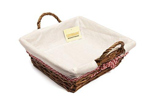 woodluv Viereckiger Weidenkorb, 30x31cm, mit weißem Futter, Braun White Bread Box