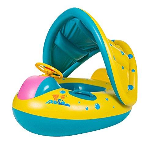 Stillcool gonfiabile mare bambini con copertura, gonfiabile bambino anello di nuoto con parasole regolabile galleggiante barca nuotare sede per 12-36 mesi toddler kids child