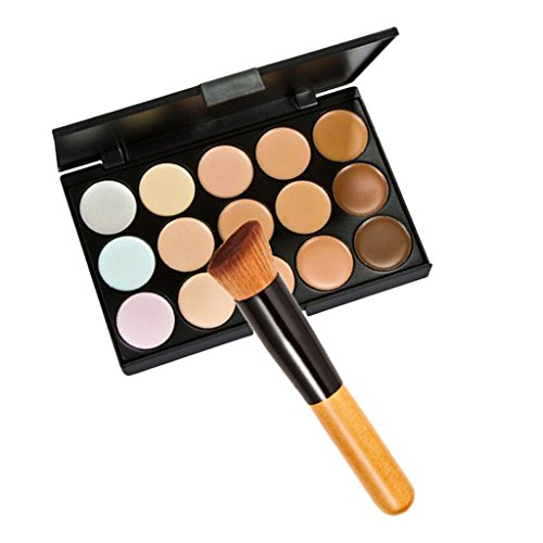 Generic Pro 15 Colors Face Contour Cream Concealer Palette with Makeup Powder Brush