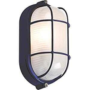 Knightsbridge IP54 Oval Bulkhead Lamp with Wire Guard and Glass Diffuser, 60 W, Black