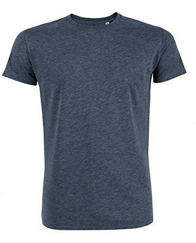 YTWOO Herren Rundhals Tshirt Aus 100% Bio-Baumwolle- in Diversen Farben Schwarz und Weiß bis 2XL - Organic, Herren Bio Shirt, Herren Bio T-Shirt Dark Heather Blue